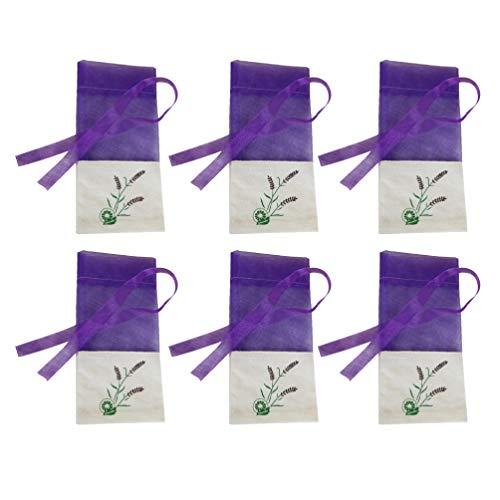 Cabilock Duft Lavendelsäckchen Leere Lavendel Beutel Tasche Kräutertüten Organzabeutel Süßigkeitstaschen Kordelzugbeutel Sack Motten Duftsäckchen Gewürzbeutel für Kleiderschrank 6 Stück