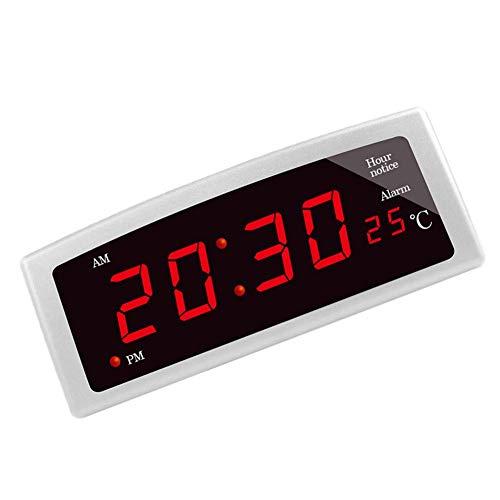 DealMux reloj despertador digital reloj despertador con pantalla de temperatura reloj despertador digital con dígitos luminosos reloj despertador reloj digital digital dormitorio plata rojo