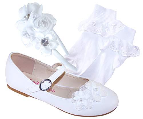 Zapatos de bailarina blanca para ocasiones especiales con calcetines blancos y diadema de satén blanco, color Blanco, talla 23 EU