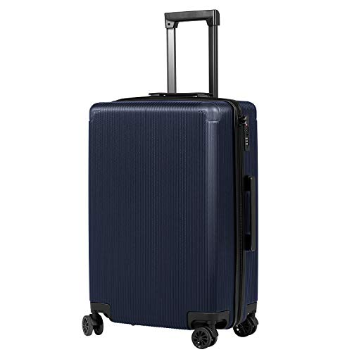 Murtisol 24 inches (69cm) ABS Luggage TSA Lock Lightweight Durable Hard Shell 4 Spinner Wheels Suitcase, Navy Blue
