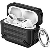 Maxjoy Airpod Pro Case Cover TPU Sword Armor Series Case Full Body Rugged Protective Case with Keychain Shockproof Airpod Case for Apple Airpod Pro Charging Case (Black)