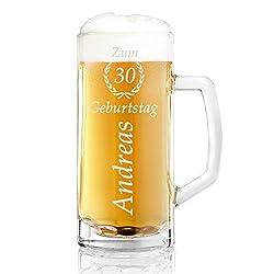polar-effekt Bierkrug Personalisiert mit Gravur eines Namens und Jahreszahl im Ährenkranz – Bierseidel Geschenk-Idee zum Geburtstag - Motiv zum Geburtstag 0,5l