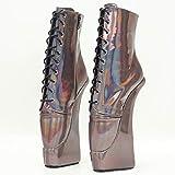 COSY-L Ballett Stiefel Heels Sexy Bühnenschuhe Fetisch Stiefeletten Schnürung Vorne und Seitlicher Reißverschluss für Paare Sexspiele,Picture,45 EU