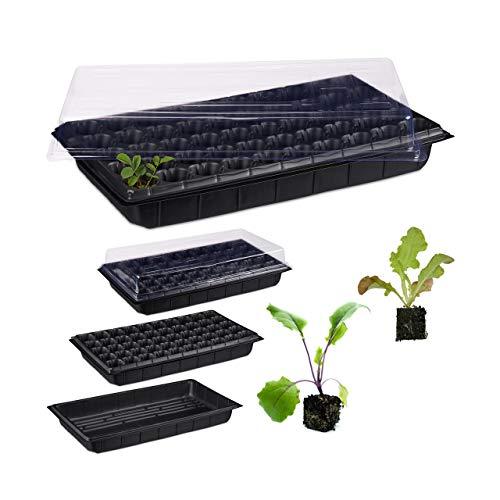 Relaxdays, schwarz Zimmergewächshaus 50 Pflanzen, Deckel, Mini Gewächshaus, Terrasse, Balkon, Anzuchtschale, 55,5x29 cm