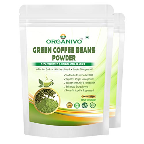 Organivo Pure & Natural Arabica Green Coffee Beans Powder for Weight Loss & Boosts Metabolism, Promotes to Weight Management & Burn Extra Fat, Net Weight 400 gms.