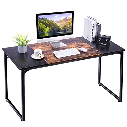 APUWE Computer Desk, Office Desk for Home Working, Modern Simple Style PC Desk Study Table Writing Workstation with Splice Board, Black and Rustic Brown, 140CM