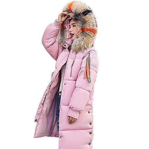 OSYARD Damen Winterparka Wintermantel Lange Kapuzenjacke mit Reißverschluss Fellkapuze Outwear Regenjacke Einfarbig, Frauen Winter Warm Faux Kapuze Dicke Warme Dünne Jacke Lange Mantel Outcoat