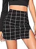 Floerns Women's Plaid Bodycon Split Mini Skirt A Black L