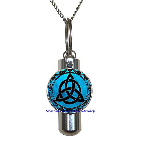Blue Moon Celtic Triquetra Jewelry Cremation URN Necklace URN, Photo Cremation URN Necklace Charm, Celtic Knot Jewelry,Celtic Cremation URN Necklace,Wedding Jewelry-JP193