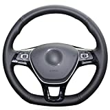 NsbsXs Für Volkswagen Golf 7 Mk7 Neuer Polo Passat B8 Tiguan Sharan Schwarz PU Handgenähte Autolenkradabdeckung