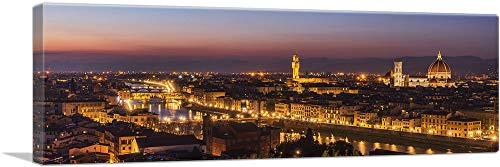 "ARTCANVAS Florence Italy at Night Skyline Canvas Art Print - 48"" x 16"" (1.50"" Deep)"