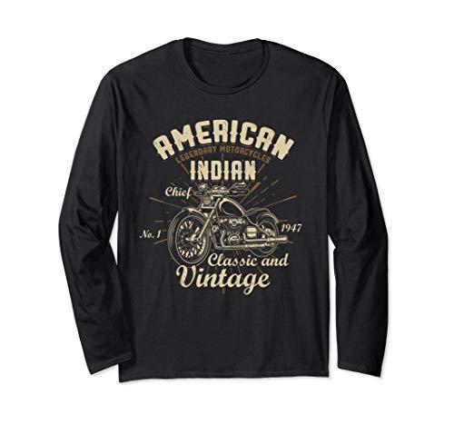 Retro Vintage American Motorcycle Indian for Old Biker Gifts Langarmshirt