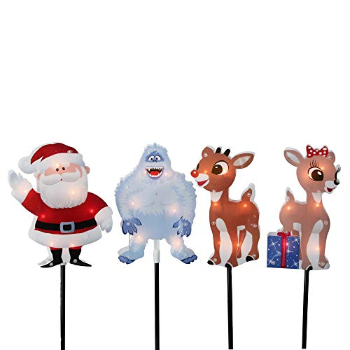 Northlight Set of 4 Pre-Lit Rudolph The Red-Nosed Reindeer Pathway Markers - Clear Lights