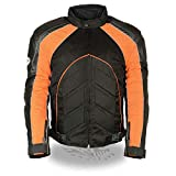 NexGen SH2153 Men's Black and Orange Armored Moto Textile and Leather Combo Jacket - 5X-Large