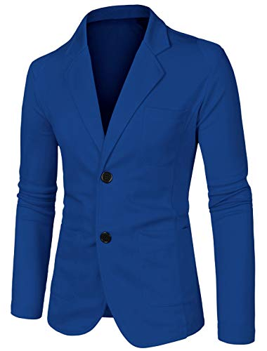 uxcell Uomo Blazer Design Semplice Due Tasche Davanti a Due Pulsanti a Manica Lunga Blu 50