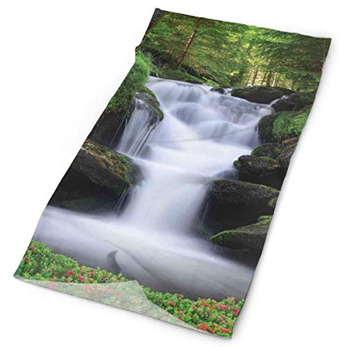 GUUi Headwear Headband Head Scarf Wrap Sweatband,Dream Like Image of Waterfall with Trees and Flowers in Forest Mother Nature,Sport Headscarves for Men Women