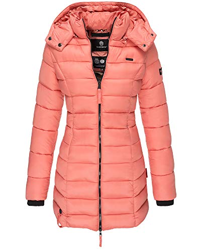 Marikoo Damen Winter Jacke Stepp Mantel Leichte Übergangsjacke Warm Lang S107 (S, Coral/Lachs)