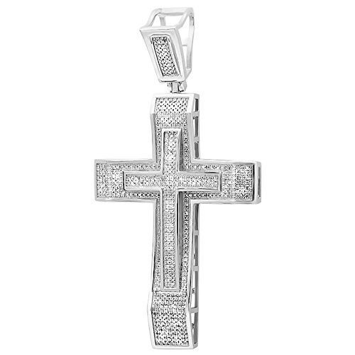 Dazzlingrock Collection 2.00 Carat (ctw) Round Cut White Diamond Men's Hip Hop Religious Cross Pendant 2 CT (Silver Chain Included), Sterling Silver