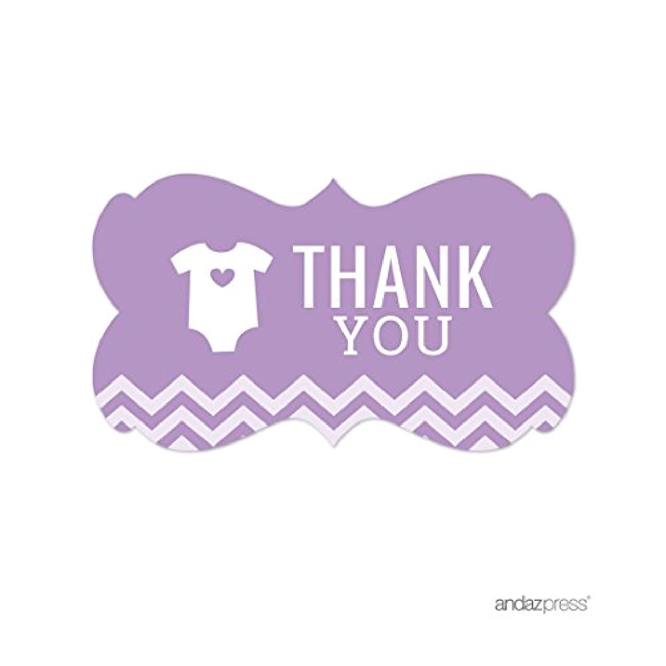 Andaz Press Lavender Chevron Girl Baby Shower Collection, Fancy Frame Label Stickers, Thank You, 36-Pack