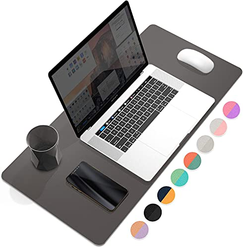 YSAGi Desk Mat, Dual-Sided Desk Pad Waterproof PU Leather Large Mouse Mat, Laptop Desk Mat, 2mm Thick Ultra Thin Easy Clean Desk Pad for Office/Home/Gaming (Dark Grey, 60 x 35 cm)
