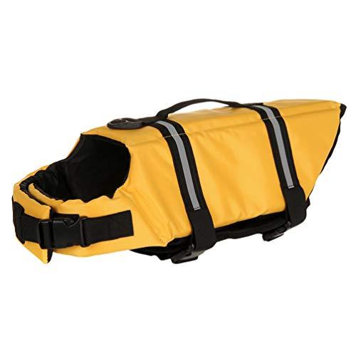 YOUJIAA Chaleco Salvavidas para Perros Chaleco Reflectante Velcro Ajustable Mascotas Seguridad Natación Ropa con Mango de Rescate (Amarillo, S)