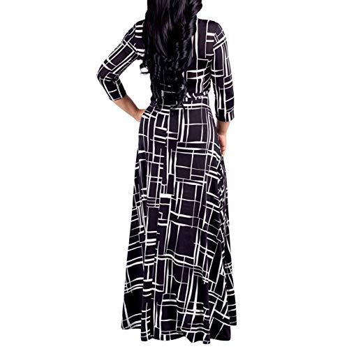 SZITOP Women's Casual Plus Size Bandage Print Dress Sexy Loose V-Neck Short Sleeve Skirt Maxi Club Party Dresses(Black,Large)