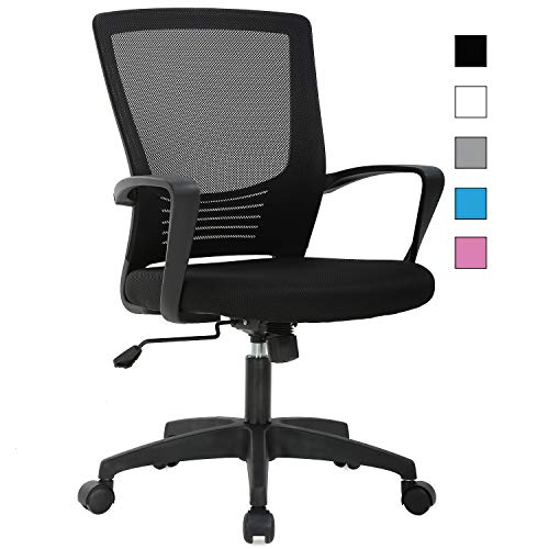 Vnewone Ergonomic Office Home Desk Rolling Computer Gaming Mesh Executive Task Chair with Back Lumbar Support Armrest Swivel Modern Height Adjustable, Black