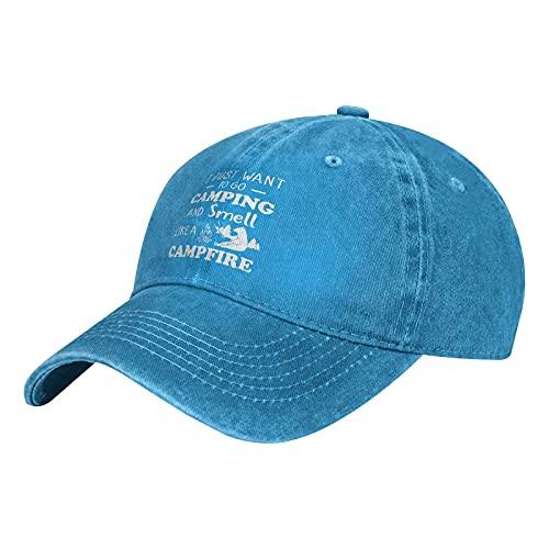 Go Camping Smell Like Campfire Bear - Gorra de béisbol para adultos, lavable, algodón, protección solar, color azul