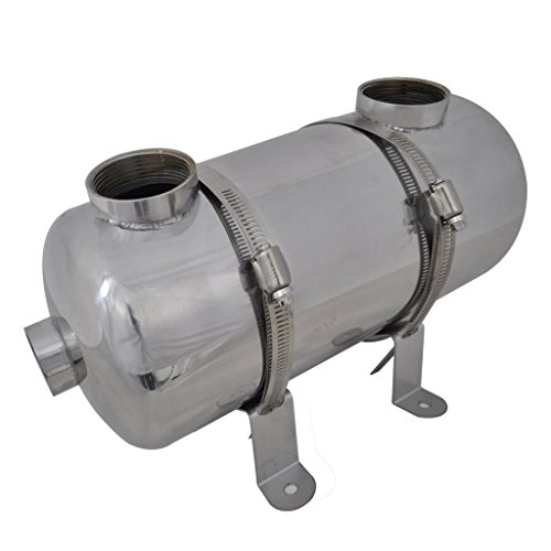 Festnight Pool-Wärmetauscher aus Edelstahl Schwimmmbadwärmetauscher 355 x 134 mm 40 kW für Poolsystem