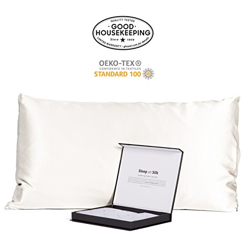 Fishers Finery 30mm 100% Pure Mulberry Silk Pillowcase Good Housekeeping Quality Tested (White, King)