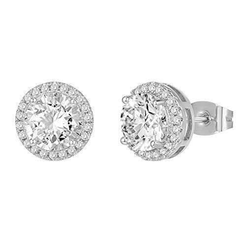 PAVOI 14K Gold Plated Sterling Silver Post Brilliant Round Faux Diamond Halo Earrings - Premium...