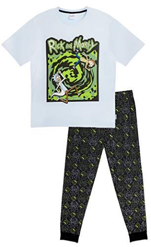 Rick and Morty Schlafanzug Herren, Baumwolle Nachtwäsche Herren, Zweiteiliger Pyjama Anzug Männer und Jungen, T Shirt mit Lange Schlafhosen, Geschenke für Männer (Schwarz/Blau Porta, XL)
