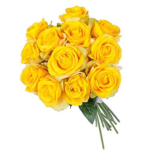 Kisflower 12Pcs Rosen Künstliche Blumen Realistische Einzelstielblumen Seidenrosenstrauß für Hochzeitsfeier Büro Home Decor (Farbverlauf gelb)