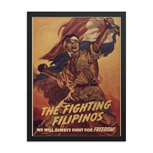 Vintage Poster - The Fighting Filipinos 1215 - Enhanced Matte Paper Framed Poster (18x24) - Black Frame
