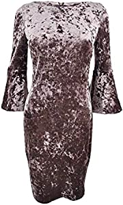 Calvin Klein Womens Bell Sleeves Knee-Length Cocktail Dress Taupe 14