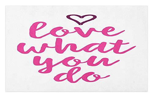 ABAKUHAUS Diciendo Tapete, Haz lo Que amas Pink Tones, Decorativo con Fieltro de Poliéster Estampado Base Antideslizante, 45 cm x 76 cm, Oscuro Fucsia Magenta