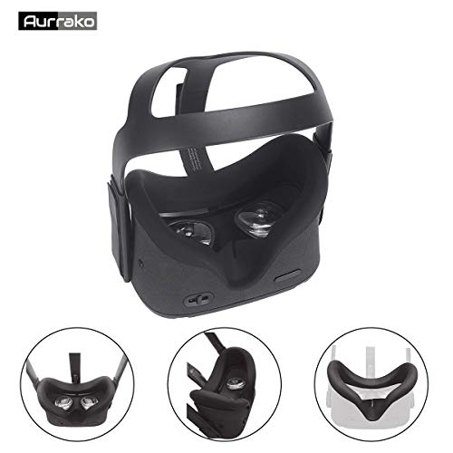 New Aurrako Vr Face Pad for Oculus Quest VR Headset Accessories, Silicone Face Cover Mask Easy Wipe ...