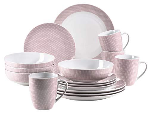 MÄSER 931563 Kitchen Time II Geschirr-Set für 4 Personen, 16-tlg Kombiservice in Rosa mit dezentem Muster, Porzellan