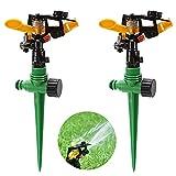 BESTZY Aspersor de riego, 2 unidades, para jardín, aspersor automático, giratorio 360 grados, para jardín, césped, plantas