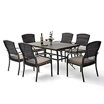 Pamapic 7 Piece Patio Dining Set Outdoor Dining Table Set Patio Wicker Furniture Set for Backyard Garden Deck Poolside/Iron Slats Table Top Removable Cushions Beige