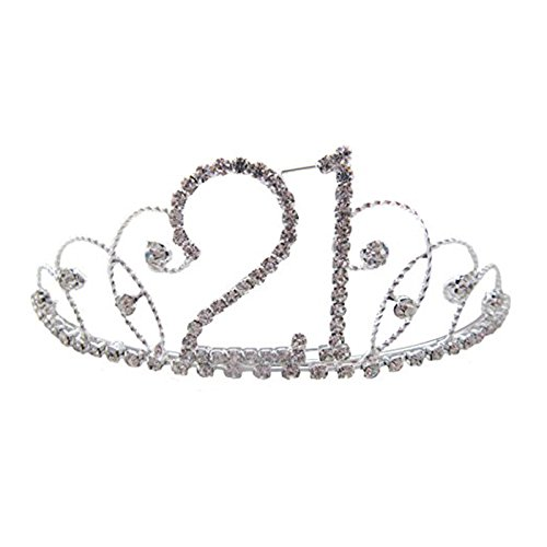 Pick A Gem Hair Accessories Silver Clear Diamante Crystal 21st Birthday Tiara Crown / Happy 21st Birhday by Pick A Gem Hair Accessories