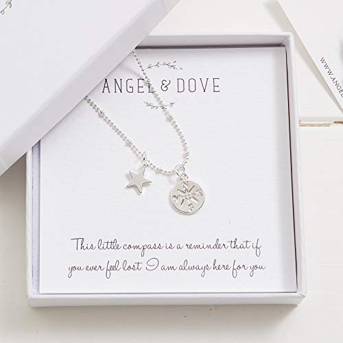 Angel & Dove'If You Ever Feel Lost.' Silver Compass and Star Necklace in Gift Box with Bag & Card