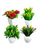 """Package Contents: 4 Multicolour & Different Design Set of 4 Artificial Plants with 4 Pots (Plant Size 6'' Inches - Green) Pot Size 2'' Inches & POT Height 2.5"""" Inches Decorating artificial plants with pot for home decor are a perfect gift to your and..."""