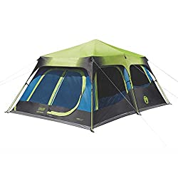 Coleman 2000032730 Camping Tent | 10 Person Dark Room Cabin Tent with Instant Setup, Green/Black/Teal