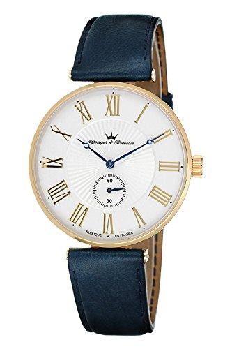 YONGER&BRESSON Heren multi-wijzerplaat kwarts horloge met lederen armband HCP 076/BS26