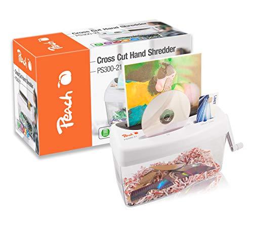 Peach PS300-21 Partikelschnitt Aktenvernichter | 1 Blatt | 4 Liter  | 3.5 x 4mm Partikel (P-4) | Papier  CDs und Kreditkarten |  manuell betriebener Kreuzschnitt | Strom unabhängig | DSGVO 2018