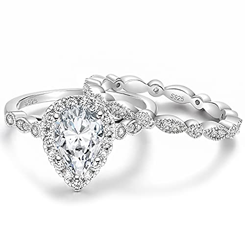 EAMTI 1.5CT 925 Sterling Silver Bridal Ring Sets Teardrop CZ Engagement Rings Vintage Pear Promise Rings Marquise Wedding Bands for Women Size 7