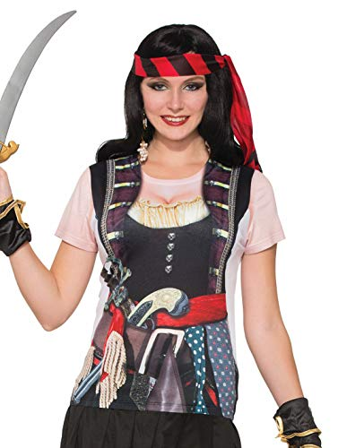 Forum Novelties Novelties-X77166 X77166 T-Shirt de Femme Pirate Effet 3D, Multicolore, UK Size 10-14