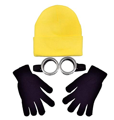Coconut Creek Kids - Adult Yellow Helper Costume Kit 1 Yellow Beanie, 1 Pair Goggles and 1 Pair Black Gloves (Adult)