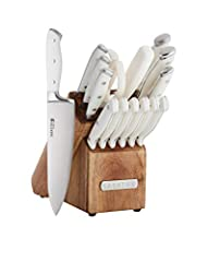 STYLISH, MODERN & FUNCTIONAL: Give your kitchen the update it needs with this beautifully designed Acacia block Set with Forged White Handles. This set includes your most essential cutlery pieces for chopping, slicing, mincing, and more. RAZOR-SHARP ...